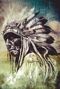 sketch of tattoo art, indian head over artistic background - stock illustration