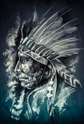 sketch of tattoo art, native american indian head, chief, dirty background - stock illustration
