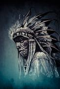 Native american indian head, chief, vintage style Stock Illustration