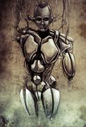 Sketch of tattoo art, android, robot, fantasy illustration Stock Illustration