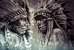 Stock Illustration of native american indian head, chief, retro style