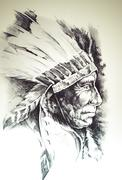 Sketch of tattoo art, native american indian head, chief, isolated Stock Illustration