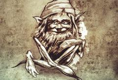 sketch of tattoo art, funny sitting gnome - stock illustration