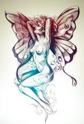 nude fairy. fantasy sketch of tattoo art, naked woman figure - stock illustration