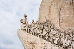 portugal, age of discovery monument in lisbon - stock photo