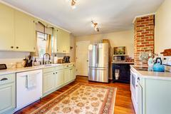 kitchen room interior in old house - stock photo