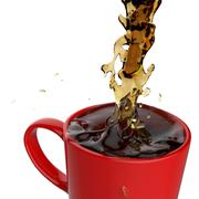 pouring coffee splashing into red mug - stock illustration
