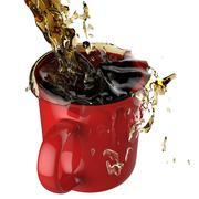 Pouring coffee splashing into red mug Stock Illustration