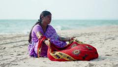 Indian woman wearing colorful sari, Goa, India Stock Footage