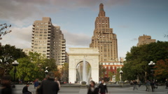 Low angle time lapse wide shot of fountain at Washington Square Park / New York Stock Footage