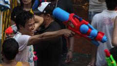 Crowd Celebrating Songkran on Khao San Road in Bangkok, Thailand - stock footage