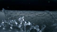 Water fall on steel sheet, Slow Motion - stock footage