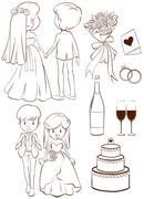 A plain sketch of a wedding ceremony Stock Illustration