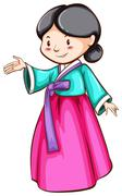 A simple sketch of an Asian girl Stock Illustration