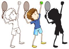 Sketches of the tennis player in three different colours - stock illustration