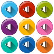 Round icons with rewind buttons - stock illustration
