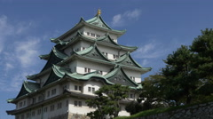 Tower of Nagoya Castle with Moving Clouds - stock footage