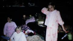 1190 - young girls enjoy friends at slumber party - vintage film home movie Stock Footage