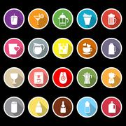 variety drink icons with long shadow - stock illustration