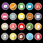 Writing related icons with long shadow Stock Illustration