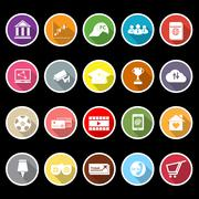 general online flat icons with long shadow - stock illustration