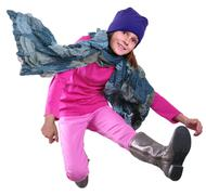 isolated autumn portrait of child with hat, scarf and boots jumping - stock photo