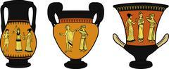 Ancient Greek utensil three vases - stock illustration