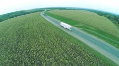 Aerial view. Winding roads, highway in autumn. Highway Stock Footage