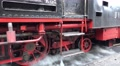 4k Classic steam locomotive wheels closeup pan in mountain forest station 4k or 4k+ Resolution