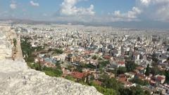 Athens Greece city pan from Acropolis 4K 037 Stock Footage