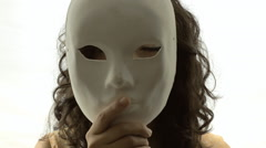 Vintage girl silhouette mask mystery CU LT Stock Footage