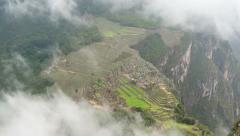 Machu Picchu in Fog Time Lapse Stock Footage