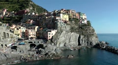Europe Italy Liguria Cinque Terre national park 020 Manarola seen from seaside Stock Footage