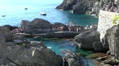 Europe Italy Liguria Cinque Terre national park 017 stone lagoon of Manarola Stock Footage