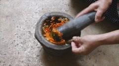 Pounding thai chili sauce Stock Footage