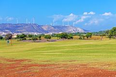 training golf field for range shots, cyprus - stock photo