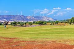 Training golf field for range shots, cyprus Stock Photos