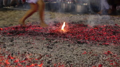 FIRE WALKING HOT COALS TRADITIONAL RELIGION CULTURE Stock Footage