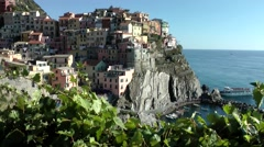 Europe Italy Liguria Cinque Terre national park 024 steep coast village Manarola - stock footage