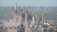 Oil refinery. Energy and Pollution.  Priolo, Sicily. Stock Footage