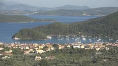 Landscape Lefkada Island, Isle in Greece, Tropical Beach, View Skorpios Scorpios Stock Footage