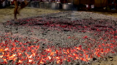Stock Video Footage of FIRE WALKING HOT COALS TRADITIONAL RELIGION CULTURE
