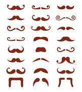 Stock Illustration of Brown moustache or mustache vector icons set