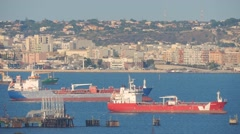 Oil tankers in sicilian port of Augusta, Italy. - stock footage