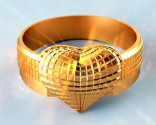 Golden ring in the shape of a heart Stock Illustration