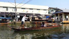 Tourist Couple on Boat at Amphawa Floating Market in Bangkok, Thailand Stock Footage