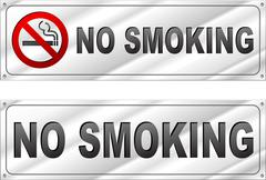 No smoking chrome sign Stock Illustration