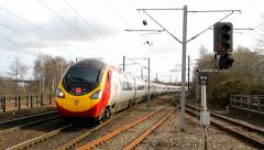 Virgin Pendolino approaching Wigan Stock Footage