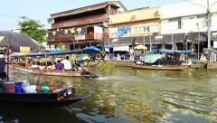 Tourists on Boat at Traditional Amphawa Floating Market in Bangkok, Thailand Stock Footage