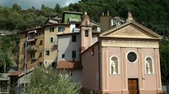 Europe Italy Liguria Airole village 001 church of Trucco at main street Stock Footage